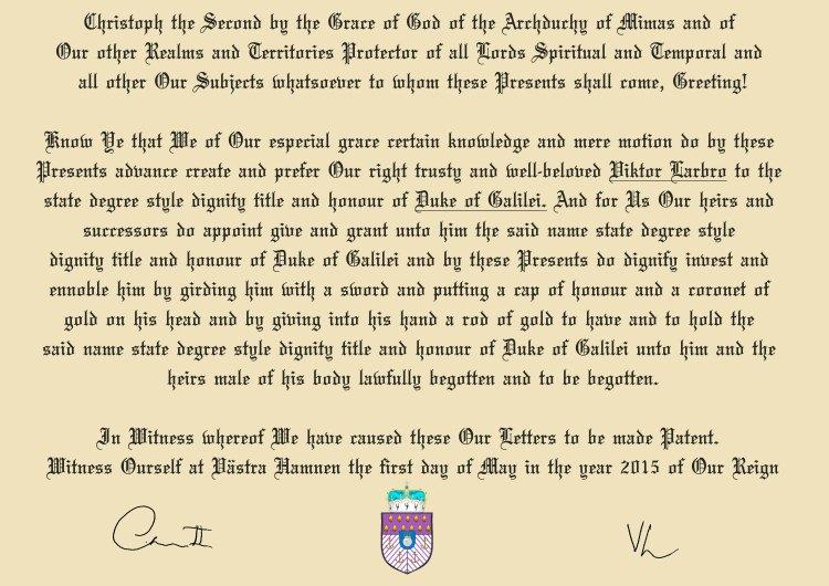 Letter Patent Duke_Larbro